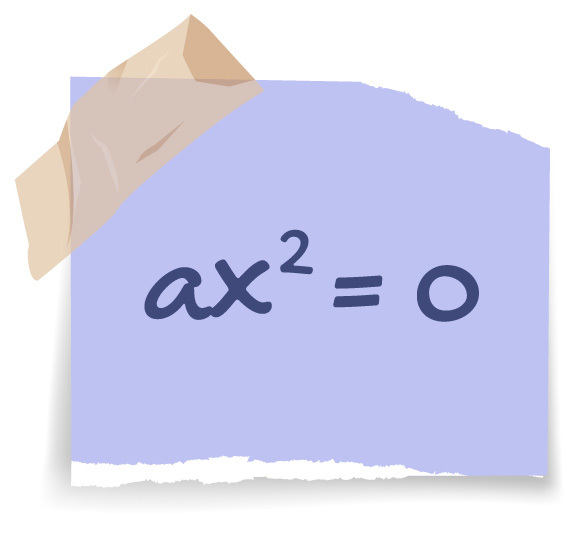 ax^2 = 0 descrita em um post it
