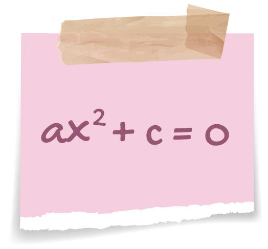 ax^2 + c = 0 descrita em um post it