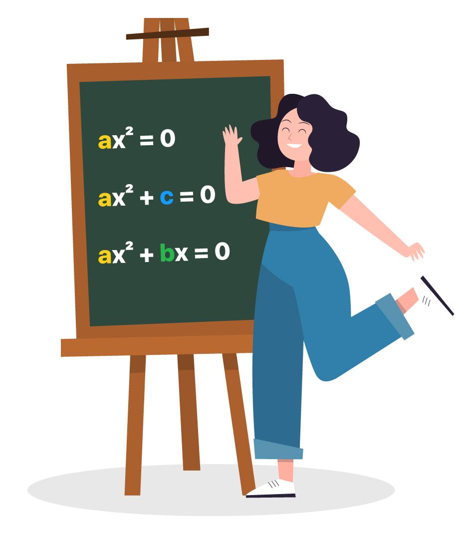 3 equações do 2º grau incompletas apresentadas em um quadro