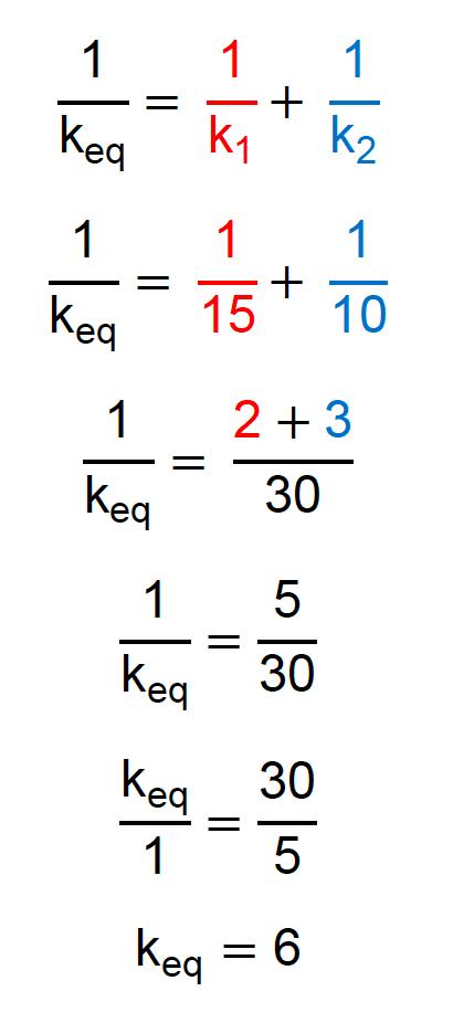 Exemplo do cálculo da constante elástica equivalente para duas molas em série