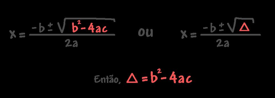 x = (-b ± √(bˆ2 - 4ac))/2a ou x = (-b ± √(∆))/2a então ∆ = bˆ2 - 4ac
