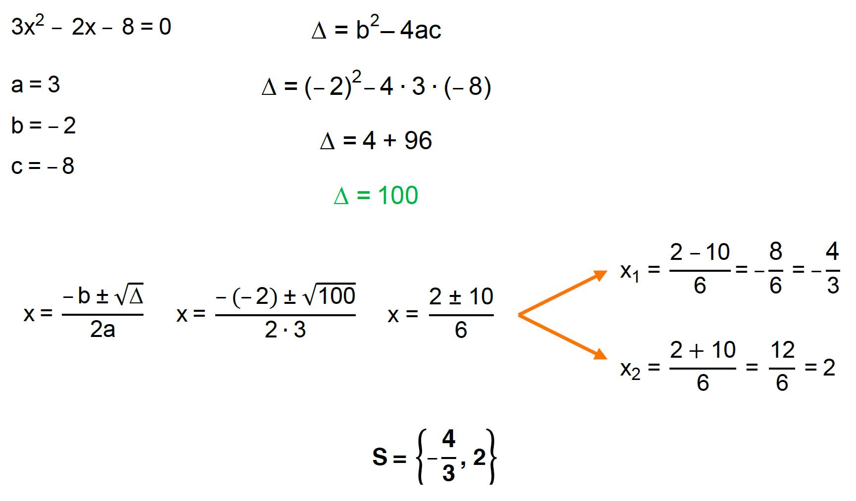 aplicando a fórmula de Bhaskara na equação 3x^2 – 2x – 8 = 0 encontra-se como conjunto solução S = {-4/3, 2}