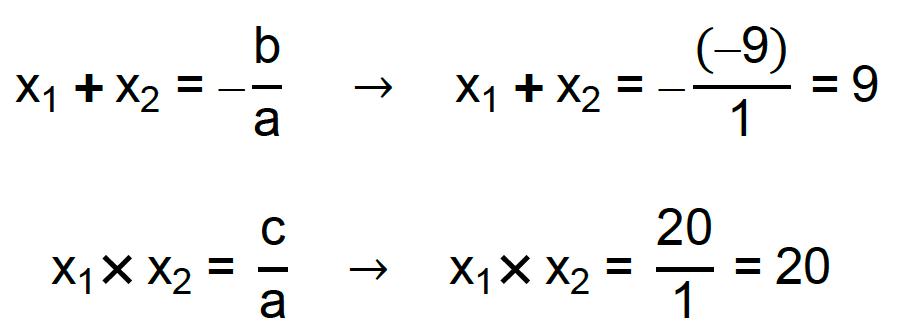 equações x1 + x2 = -b/a e x1 . x2 = c/a são aplicadas ao contexto do exercício da Ufv