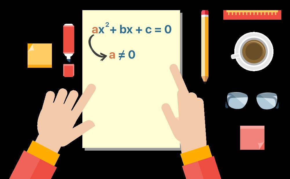equação ax^2 + bx + c = 0 disposta em uma folha com elementos como lápis óculos e blocos de estudo ao redor
