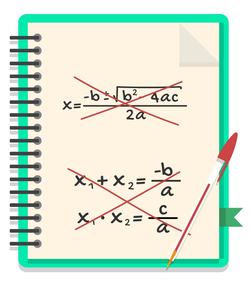 caderno onde a fórmula de Bhaskara e as relações de soma e produto estão riscadas em vermelho