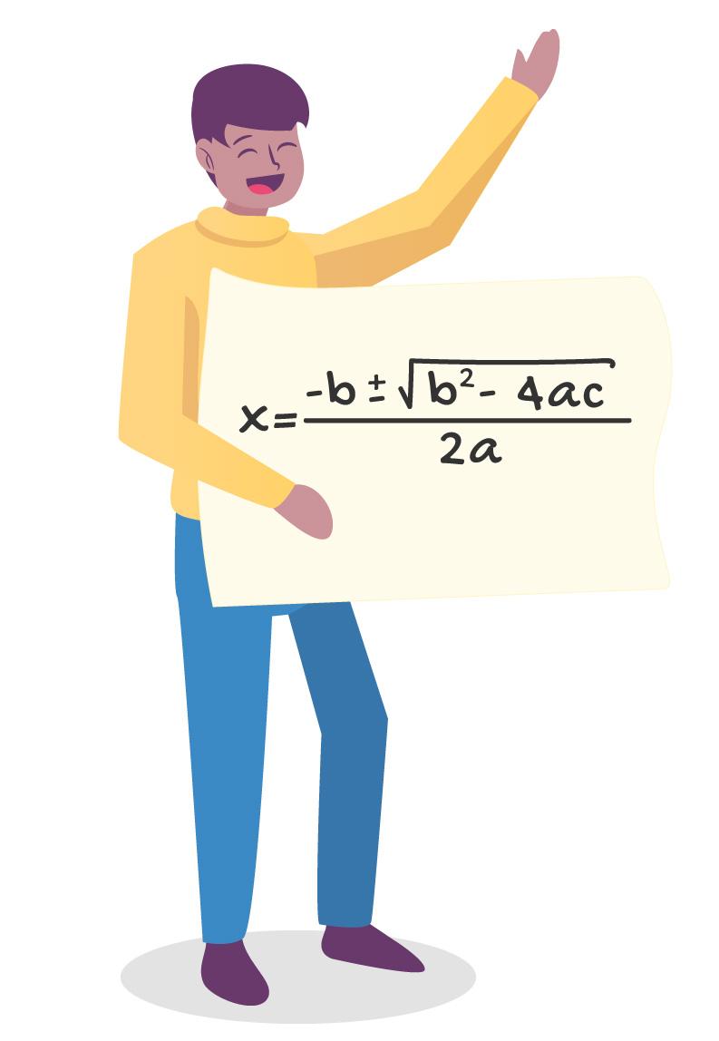 aluno mostra em uma placa a fórmula de Bhaskara x = (-b ± √(bˆ2 -4ac))/2a