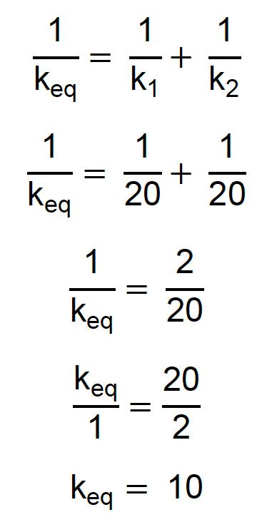 Resolução da série de duas molas iguais