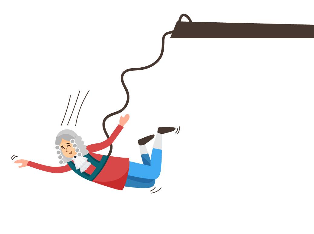 Newton pulando de bungee jumping