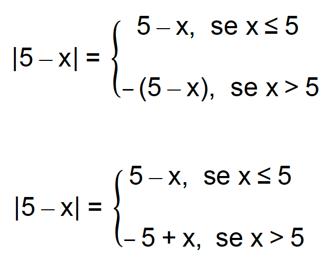 |5 - x| = 5 - x se x 5