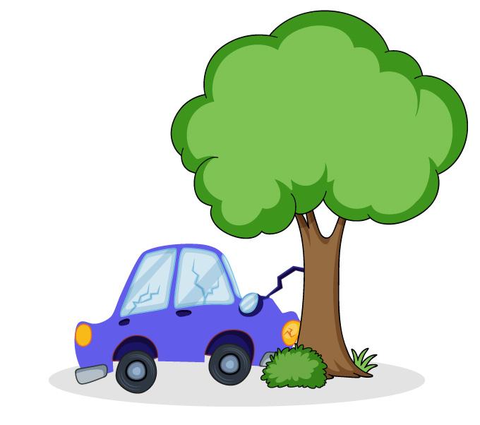 Carro colide com árvore e amassa, dissipando energia cinética e ajudando a salvar vidas