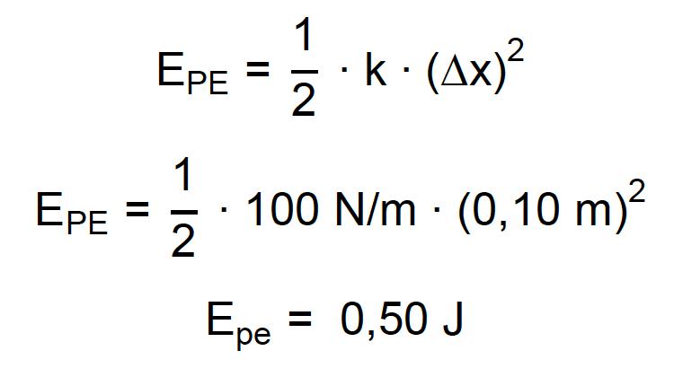 Cálculo da energia potencial elástica de uma mola deformada