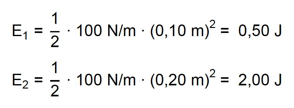 Cálculo comparando a energia potencial elástica armazenada em duas molas iguais com deformações diferentes