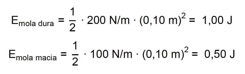 Cálculo da energia potencial de duas molas com constantes elásticas diferentes